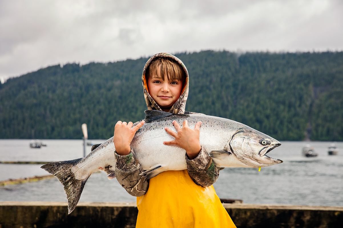Fishing in Alaska is enjoyed by all even young people.